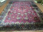 9' X 12 Antique 1920 Hand Made Agra Indo Rug Beautiful Wine Red Vegetable Dye
