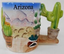 Ceramic Desert scene coffee tea mug 4x3¼ raised Mountains cacti & Saguaro handle