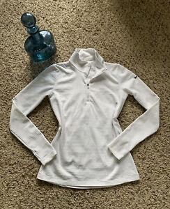 Nike Golf Womens Sz M White Pullover Dri-fit Long Sleeve Half Zip NICE!