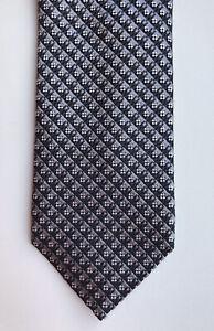 Ermenegildo Zegna Silk Tie Necktie Lucky Print Zigzag Gray Black AUTH