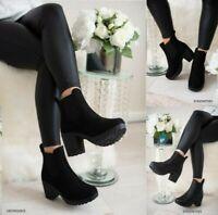 Mujer Botines Chelsea Bloque Grueso Plataforma Tacón Alto Zapatos Botas Talla