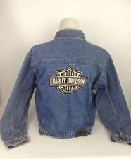 Harley Davidson Button Jean Jacket XL Youth 18 Small Womans Darker Blue Worn
