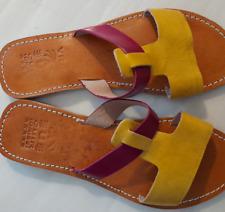 Handmade Two Tone Slip Sandals
