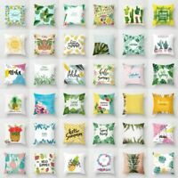 Tropical Plants Polyester Waist Throw Pillow Case Sofa Cushion Cover Home Decor