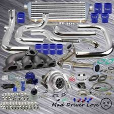 93-97 HONDA DEL SOL B16 B18 BOLT-ON TURBO KIT W/ TYPE-RS BOV RETAIN A/C P/S BLUE