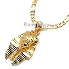 "NEW EGYPTIAN KING TUT PHARAOH MICRO PENDANT 5mm 24"" FIGARO CHAIN NECKLACE K7268G"