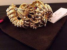 NWT Kate Spade New York Gold Monterey Bay Seahorse Pearl Sea Ocean Cuff Bracelet
