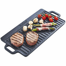 VonShef X Large Non-Stick Cast Iron Reversible Griddle Pan