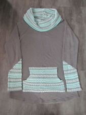 Vanity Women's Juniors Gray and Mint Green Cowl Neck Pullover Tunic Size Medium