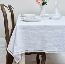BRISSI LINEN WHITE LACE BORDER TABLECLOTH 180CM X 140CM 100% LINEN RRP £98.00