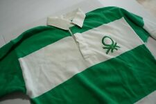 80'S VINTAGE -BENETTON  RUGBY SHIRT- EMBROIDERED LOGO- MADE IN ITALY- LARGE