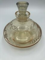Vintage Etched Pink/Peach Glass Perfume Bottle Decanter