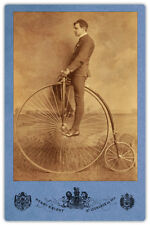 Penny Farthing Bicycle Henry Knight Photograph Cabinet Card Vintage CDV RP
