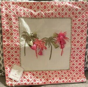 Pottery Barn Teen Lilly Pulitzer Palm Tree Pillow Cover Pink Gold Tassels Beaded
