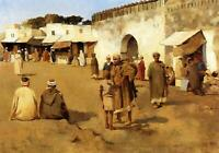 """perfect 36x24 oil painting handpainted on canvas """"moroccan market""""@N15308"""