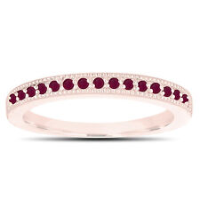 Red Ruby Wedding Band 14K Rose Gold Half Eternity Anniversary Ring Handmade