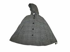 New Women Talbots Black Wool Blend Houndstooth Poncho Wrap Coat Hooded Size S/M