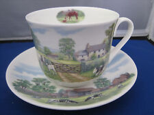 ENGLISH COUNTRY SCENE BONE CHINA  BREAKFAST CUP SAUCER KIRKHAM, MADE ENGLAND