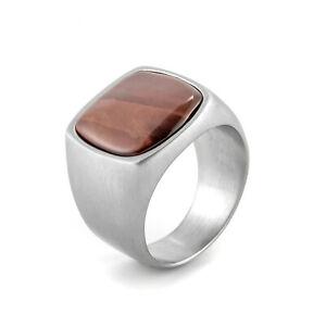 Brown Stone Stainless Steel Men's Wedding Ring Vintage Signet Ring Biker Classic
