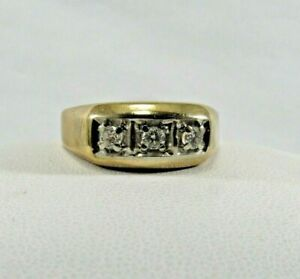 Mens 10K Solid Gold 3 Diamond Ring Size 12 SAVE 800. r387