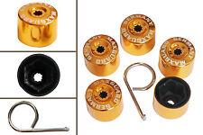 5pcs x 19mm GOLD Wheel Plastic Nut / Bolt Covers Caps Inc. Removal Tool /22047
