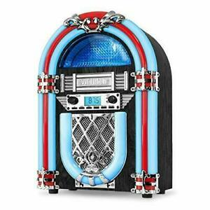 Victrola Nostalgic Wood Countertop Jukebox with Built-in Bluetooth Silver