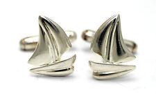 WHIMSICAL Vintage SIGNED Modernist Sterling Silver SAILBOAT Cufflinks