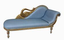 Recamiere Schwanendekor Barock Rokoko Stilmöbel Chaiselongue  weiß blau gold