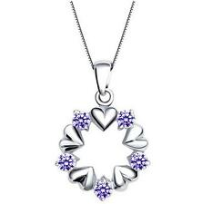 Beautifully crystal necklace Heart Purple 925 silver Jewelry Fine holiday gifts