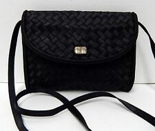 Bally Vintage Black Woven Satin Jeweled Evening Clutch Crossbody Bag Italy