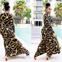 Lady Long Sleeve Maxi Dress Cocktail Party Club Sexy Gold Chain Print Beach 6-14