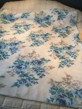"""VINTAGE 1970s NYLON & POLYESTER FILLED BEDSPREAD/ QUILT 67"""" X 56""""  - BLUES"""