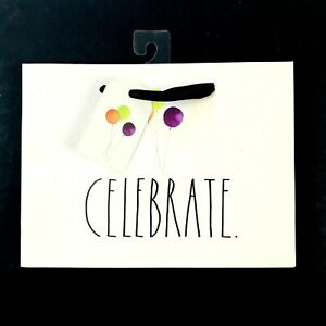Rae Dunn Ivory Large Letter CELEBRATE Print Balloons Graphic Gift Bag 8 Inch NEW