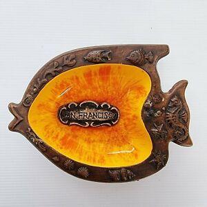 Vintage Treasure Craft Souvenier Fish San Francisco Made In Usa Pottery Glaze