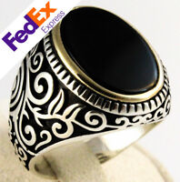 925 Sterling Silver Turkish Handmade Ottoman Onyx Stone Men's Ring All Sizes
