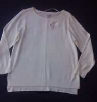 Women's Croft & Barrow Top Sweater Knit Long Sleeve Crew Neck White Sz M, XL NWT