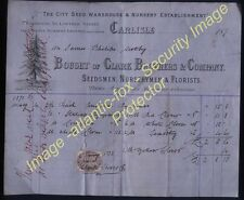 1871 CARLISLE Clark Bros, SEEDSMEN, NURSERYMEN & FLORISTS bill head