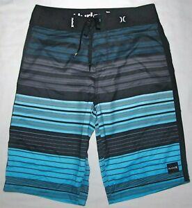 "New Hurley Blue Black Striped 21"" Boardshorts Swim Shorts Mens Size 28"