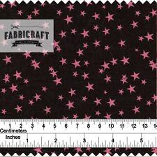 Pink Stars on black fabric - 100% cotton