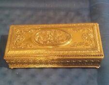 "Antique Repousse Jennings Brothers Heavy Bronze Trinket /Jewelry Box 11""x 5""x 4"""