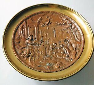Greek Mythology - Triumph of Virtue,  Brass Bronze/Copper Plate Relief Tazza
