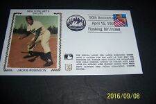 BROOKLYN DODGERS Jackie ROBINSON 50th ANNIVERSARY Silk Cachet FIRST DAY COVER