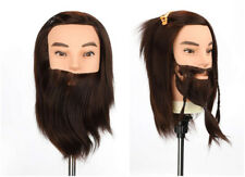 "Man 12"" 100% Synthetic Hair Hairdressing Training Head Beard Mannequin + Clamp"