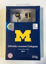 Michigan Wolverines iHip Premium Audio Earphones Earbuds - iPhone iPod NEW