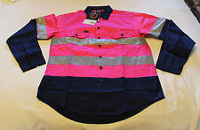 Ritemate Australia Kids Pink Navy Long Sleeve Shirt Reflective Size 11 - 12 New