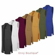 Ladies Womens Crepe Celeb Inspired Sleeveless Long Waistcoat Blazer Jacket