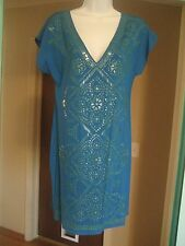 HALE BOB Aztec Mayan Adorned Blue Silk Dress Sz S 6 STUNNING