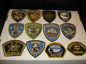 Lot of 12 Different State of California Police Patches New Condition