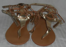 (NEW) MERAKI Hand Crafted Gold Leather Greek Sandal (Size 38) with Dust Bag