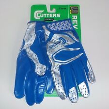 Cutters REV 2.0 Wide Receiver Gloves BLUE SILVER S251-10-34 Adult Size LARGE NWT